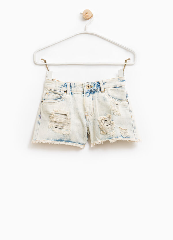 Misdyed-effect denim shorts with rips | OVS