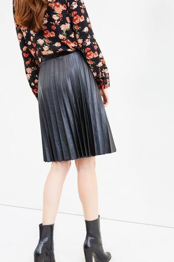 High-waisted pleated longuette skirt, Black, hi-res