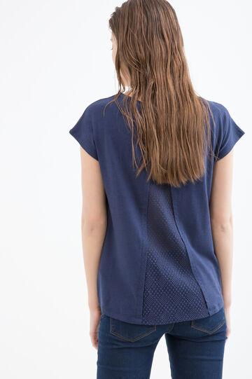 Cotton and viscose blend T-shirt, Blue, hi-res