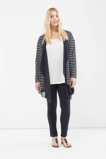 Curvy striped cardigan, White/Blue, hi-res