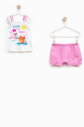 Pyjama top with flounces and shorts