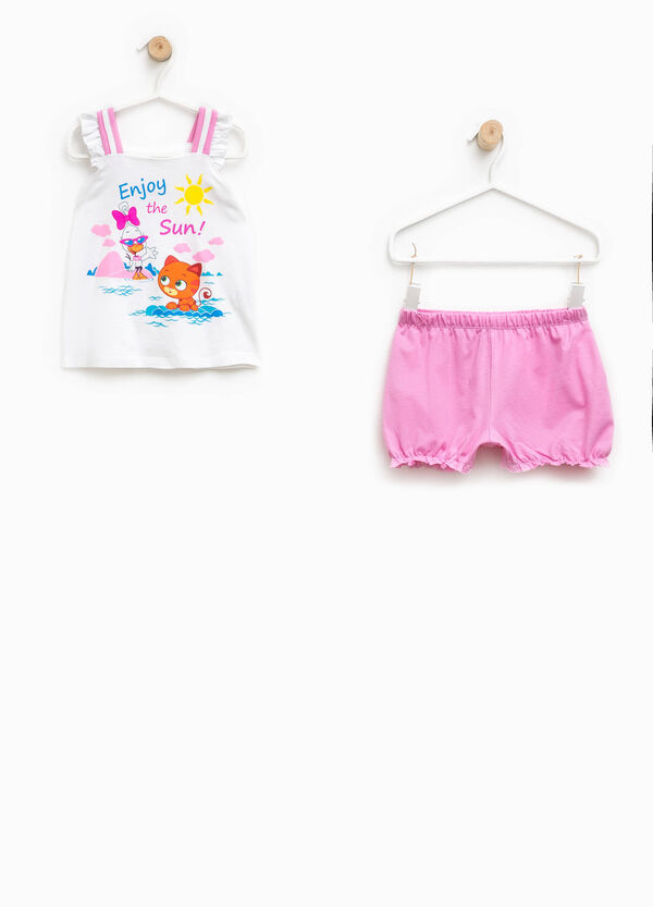 Pyjama top with flounces and shorts | OVS