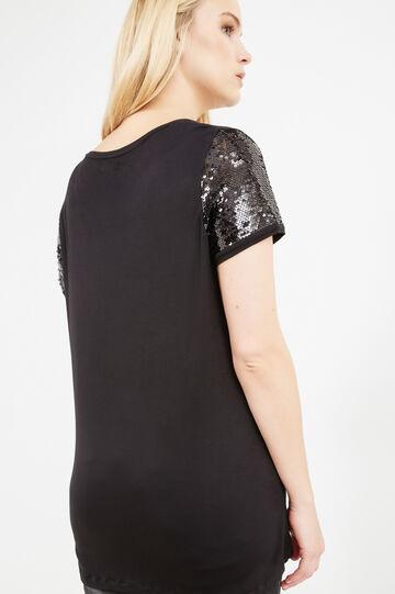 T-shirt maniche con paillettes Curvy, Nero, hi-res