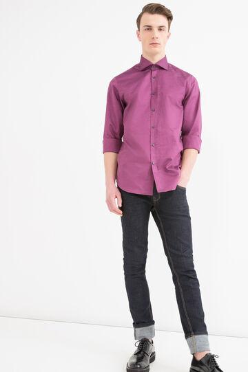 Camicia regular fit cotone bottoni, Rosso bordeaux, hi-res