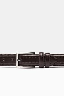 Skinny belt with stitching, Dark Brown, hi-res