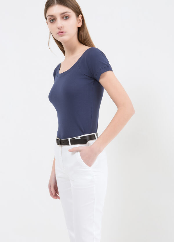 100% cotton T-shirt with wide neck | OVS