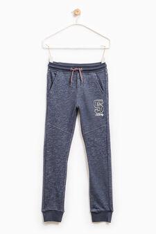 Pantaloni tuta cotone patch e ricami, Blu, hi-res