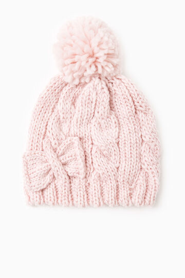 Beanie cap with pompom, Pink, hi-res