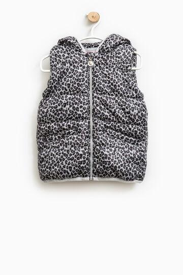 Animal print padded waistcoat, Black/Grey, hi-res
