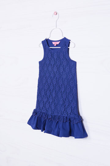 Stretch lace dress with frills, Blue, hi-res