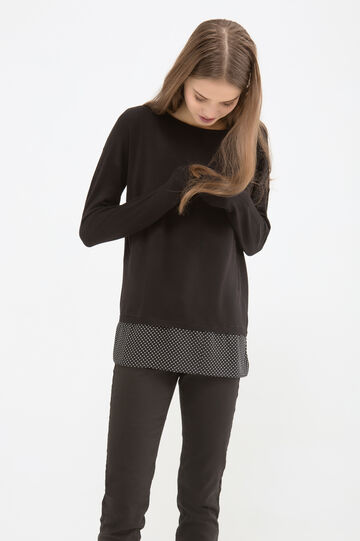 Knitted pullover with polka dot pattern, Black, hi-res
