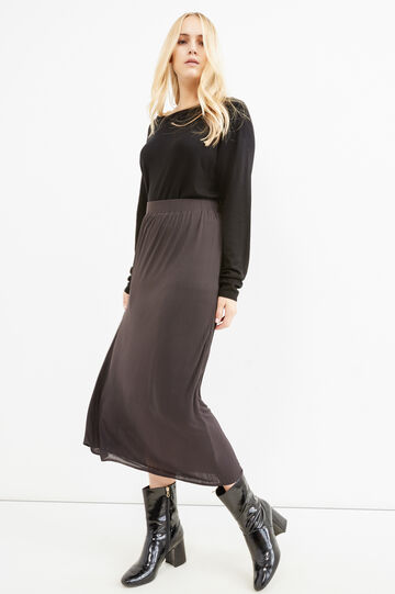 Long curvy viscose skirt, Grey, hi-res