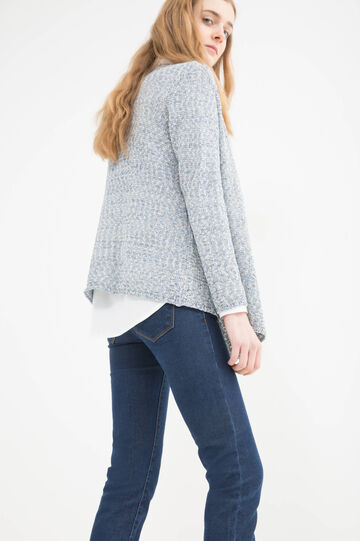 Cotton blend cardigan., Navy Blue, hi-res