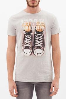 T-shirt puro cotone stampata, Grigio, hi-res
