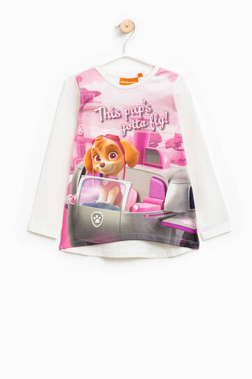 Camiseta en algodón elástico con estampado de La patrulla canina, Blanco leche, hi-res