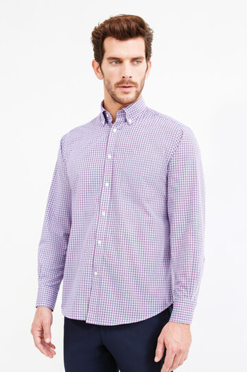 Check-patterned regular-fit formal shirt, Purple, hi-res