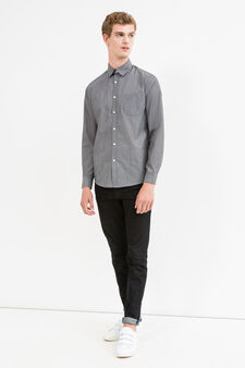 Patterned casual shirt in cotton blend, Grey, hi-res