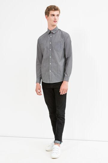 Camicia casual fantasia misto cotone, Grigio, hi-res