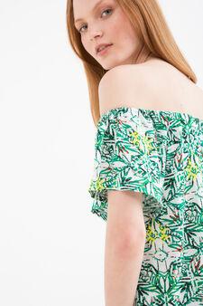 T-shirt viscosa con fantasia, Bianco/Verde, hi-res
