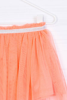 Solid colour openwork skirt with glitter, Neon Orange, hi-res