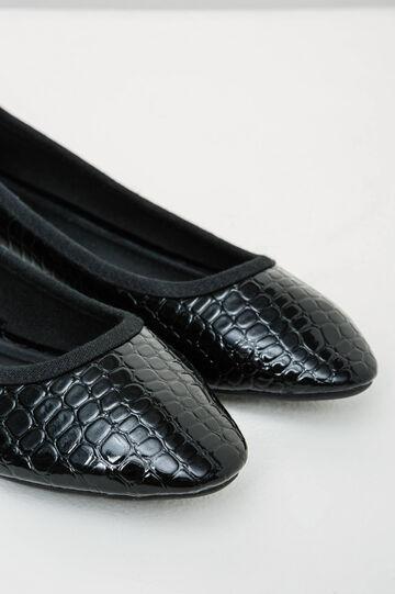 Ballerina flats with glossy snakeskin pattern, Black, hi-res
