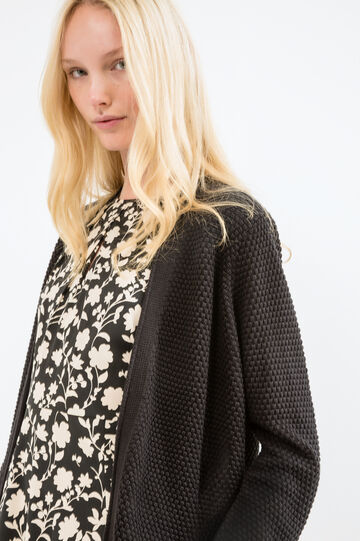 Cotton knitted cardigan with pockets, Black, hi-res