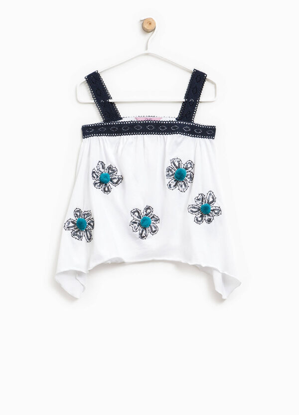 Crop top with embroidery, sequins and pompoms | OVS