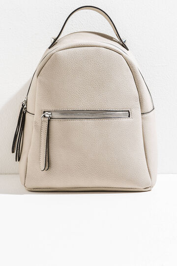 Solid colour textured backpack, Beige, hi-res