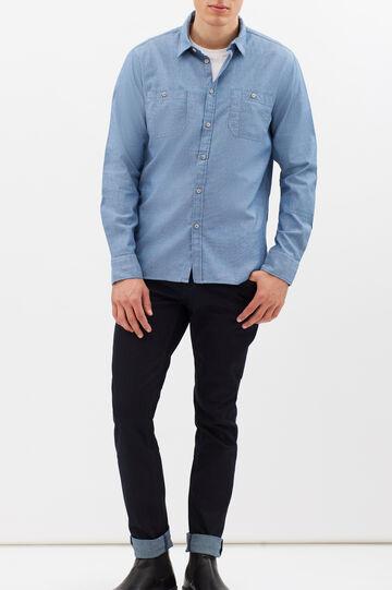 Camicia slim fit tinta unita, Blu indigo, hi-res