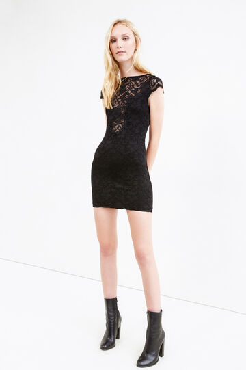 Lace dress with floral embroidery, Black, hi-res