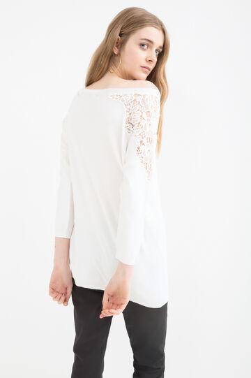 Plain colour pullover with lace, White, hi-res
