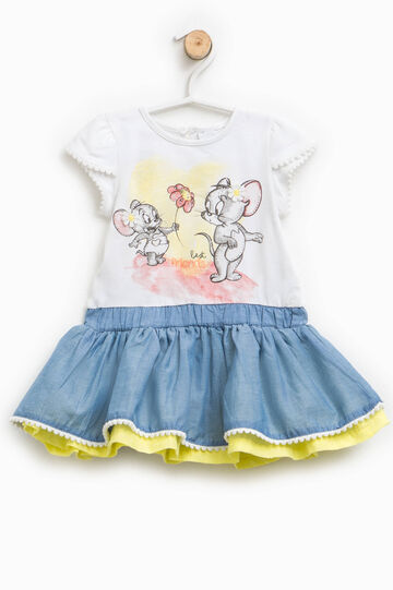 Dress with Tom and Jerry print and diamantés