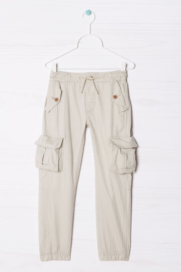 Stretch joggers with side pockets, Light Beige, hi-res