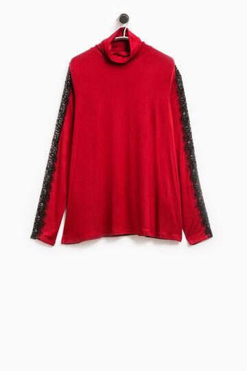 T-shirt stretch pizzo Smart Basic, Nero/Rosso, hi-res