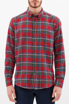 Check shirt in 100% cotton, Green/Red, hi-res