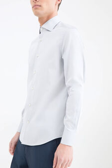 Slim-fit shirt in 100% cotton, Light Grey, hi-res