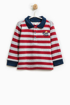 Striped polo shirt in 100% cotton, Grey/Red, hi-res