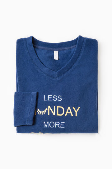Fleece pyjama top with printed lettering., Navy Blue, hi-res