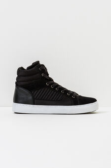 High-top sneakers with stitching, Black, hi-res