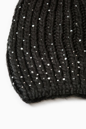 Knitted beanie cap with diamantés, Black, hi-res