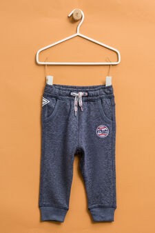 Cotton joggers with ribbing, Blue Marl, hi-res