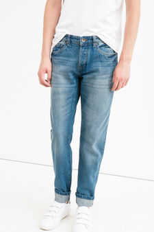 Straight-fit jeans with fading, Medium Wash, hi-res