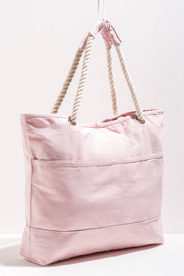 Cotton beach bag with pocket
