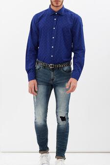 Slim-fit polka dot shirt, Blue, hi-res