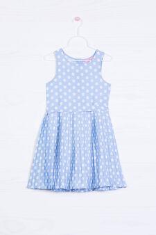 Sleeveless pleated polka dot dress., Blue, hi-res