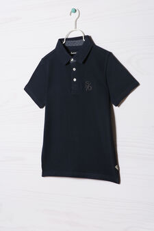 100% cotton polo shirt with embroidered lettering, Dark Blue, hi-res