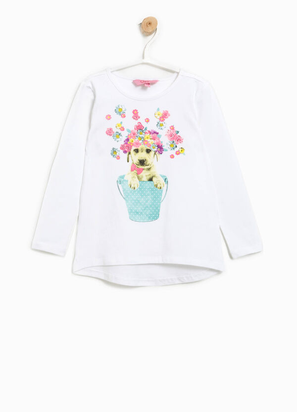 T-shirt with print and diamantés   OVS