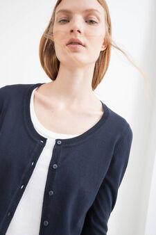 Solid colour cotton blend cardigan, Navy Blue, hi-res