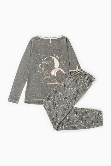 Printed pyjamas in cotton blend, Grey Marl, hi-res