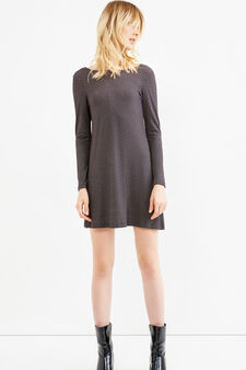 Rayon stretch patterned dress, Black, hi-res